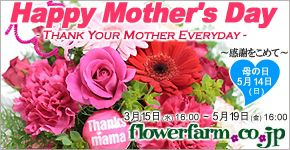 Happy Mother's Day THANK YOUR MOTHER EVERYDAY ~感謝を込めて~ 母の日 5月14日(日) 3月15日(水)16:00~5月19日(金)16:00 flowerfarm.co.jp